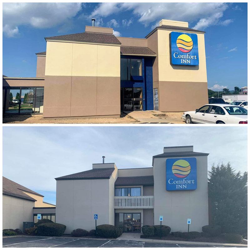 a before and after picture showing the new paint scheme at the clarion pointe harrisonburg